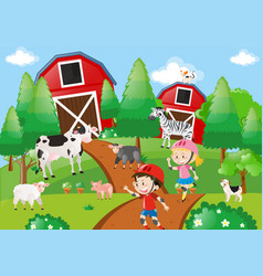 Farm scene with kids skating on the dirt road vector