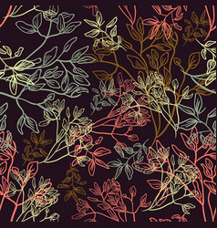 floral line flower leaves pattern fabric sketch vector image