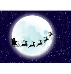 Flying Santa and Full Moon vector image