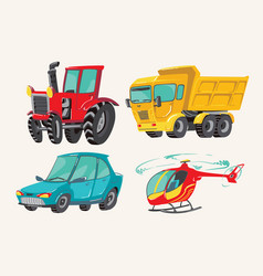 funny cute hand drawn cartoon vehicles baby vector image
