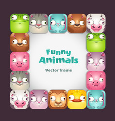 Funy square frame with comic cartoon animal vector