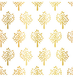 gold foil trees seamless pattern tree vector image