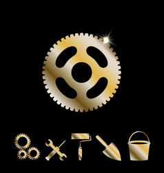 Gold gear icon vector