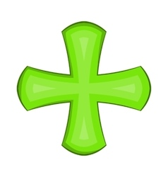 Green cross icon in cartoon style vector image