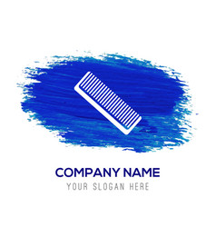 Hair comb icon - blue watercolor background vector