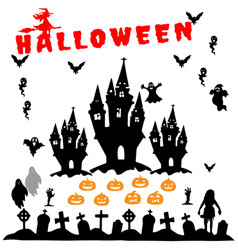 halloween silhouettes hand drawn icon set vector image