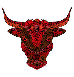 hand-drawn head of bull zentangle doodle style vector image