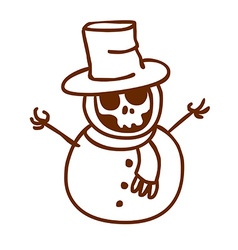 hand drawn skeleton disguised as a snowman vector image