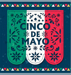 happy cinco de mayo card mexican paper cut flag vector image
