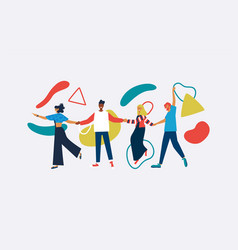 happy diverse friend isolated with abstract shapes vector image