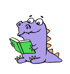 Happy purple dragon sits and reads a book with vector