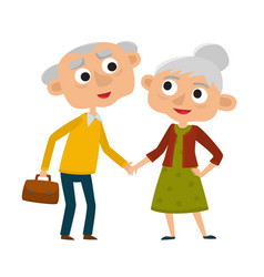 happy senior lady and gentleman with silver hair vector image