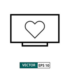 heart love symbol in television icon outline vector image