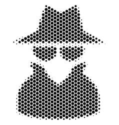 Hexagon halftone spy icon vector