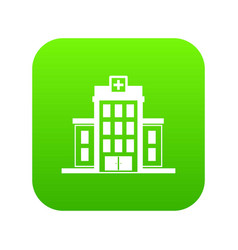 hospital icon digital green vector image