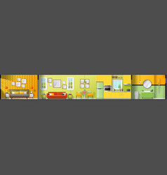 House interior section panorama vector