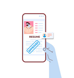 Hr manager hand using mobile app cv portfolio of vector