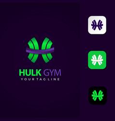 Hulk gym logo design premium template vector