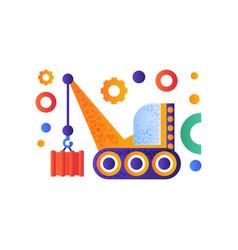 hydraulic crawler crane cargo transportation vector image