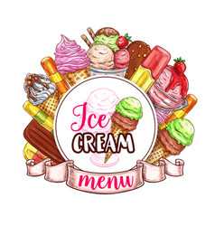 ice cream menu template vector image vector image