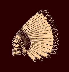 indian skull in native american headdress sketch vector image