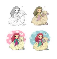 Knitting girl and a cute sheep handmade things vector