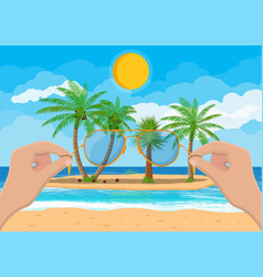 landscape of beach hand with sunglasses vector image
