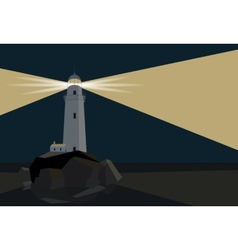 Lighthouse with barn on rocks by the sea night vector