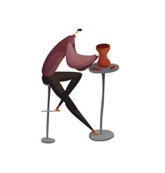 Man sculpts a clay jug vector