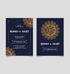 mandala style wedding invitation card template vector image