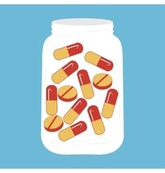 Medicine Capsule Pills in Bottle vector image