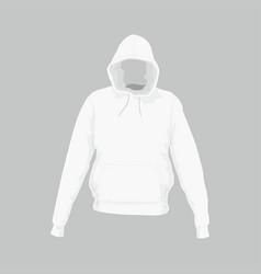 Mens white hooded sweatshirt vector