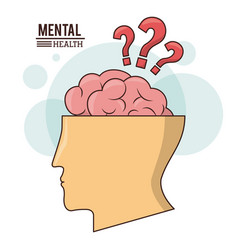 Mental health human head brain with question mark vector