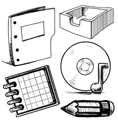 Office objects collection vector image