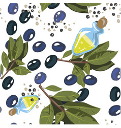 Olives with olive branch and olive oil isolated on vector