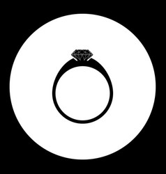 One brilliant ring simple silhouette black icon vector