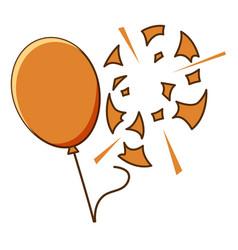 Orange balloon popped on white background vector