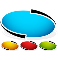 oval ellipse badge button background set of 4 vector image