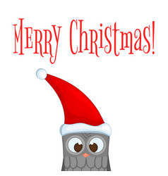 owl in the santa claus hat postcard for the new vector image