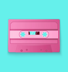 Painted retro pink cassette tapes vector