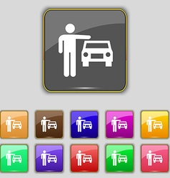 Person up hailing a taxi icon sign Set with eleven vector