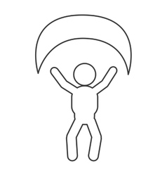 person with parachute pictogram icon vector image