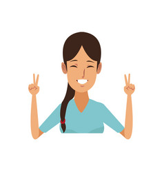 Portrait young woman funny gesture cartoon vector