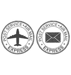 Post service express postmarks with airplane and vector