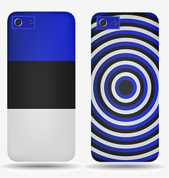 Rear covers smartphone with flags of Estonia vector image vector image