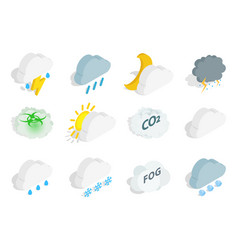 season cloud icon set isometric style vector image