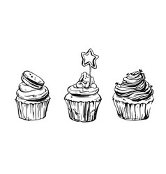 Set cute cupcakes and muffins vector