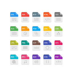 set of file format flat icons vector image