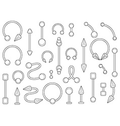 Set of silver body piercings jewelry Contour vector