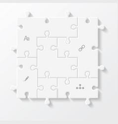 set puzzle pieces business infographics vector image
